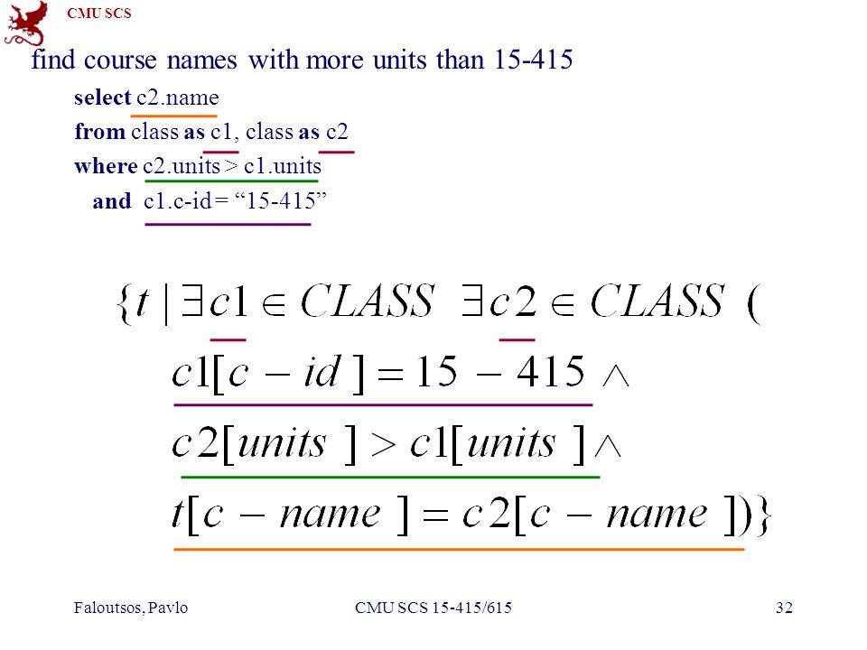 CMU SCS Faloutsos, PavloCMU SCS 15-415/61532 find course names with more units than 15-415 select c2.name from class as c1, class as c2 where c2.units