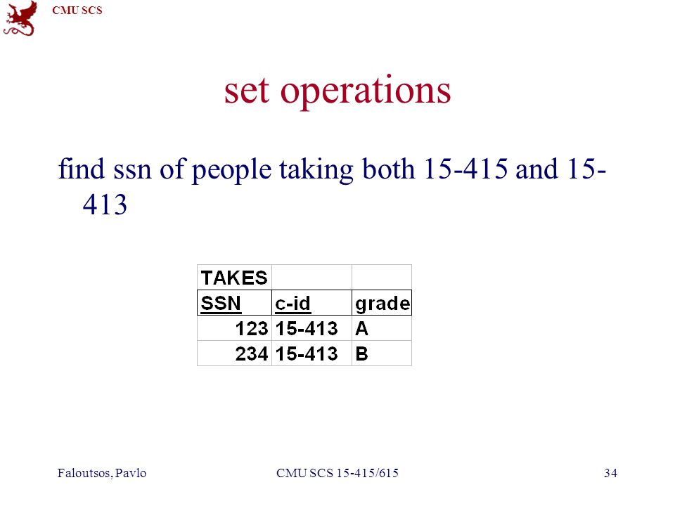 CMU SCS Faloutsos, PavloCMU SCS 15-415/61534 set operations find ssn of people taking both 15-415 and 15- 413