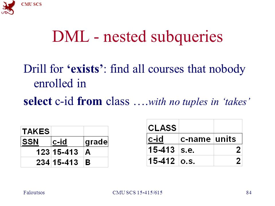 CMU SCS FaloutsosCMU SCS 15-415/61584 DML - nested subqueries Drill for 'exists': find all courses that nobody enrolled in select c-id from class …. w