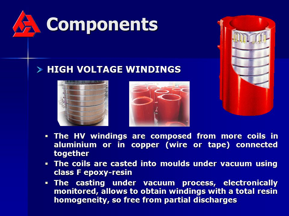 Components HIGH VOLTAGE WINDINGS HIGH VOLTAGE WINDINGS  The HV windings are composed from more coils in aluminium or in copper (wire or tape) connect