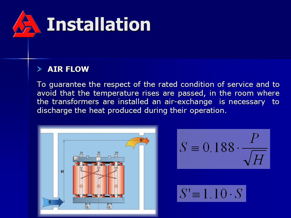 Installation AIR FLOW AIR FLOW To guarantee the respect of the rated condition of service and to avoid that the temperature rises are passed, in the r
