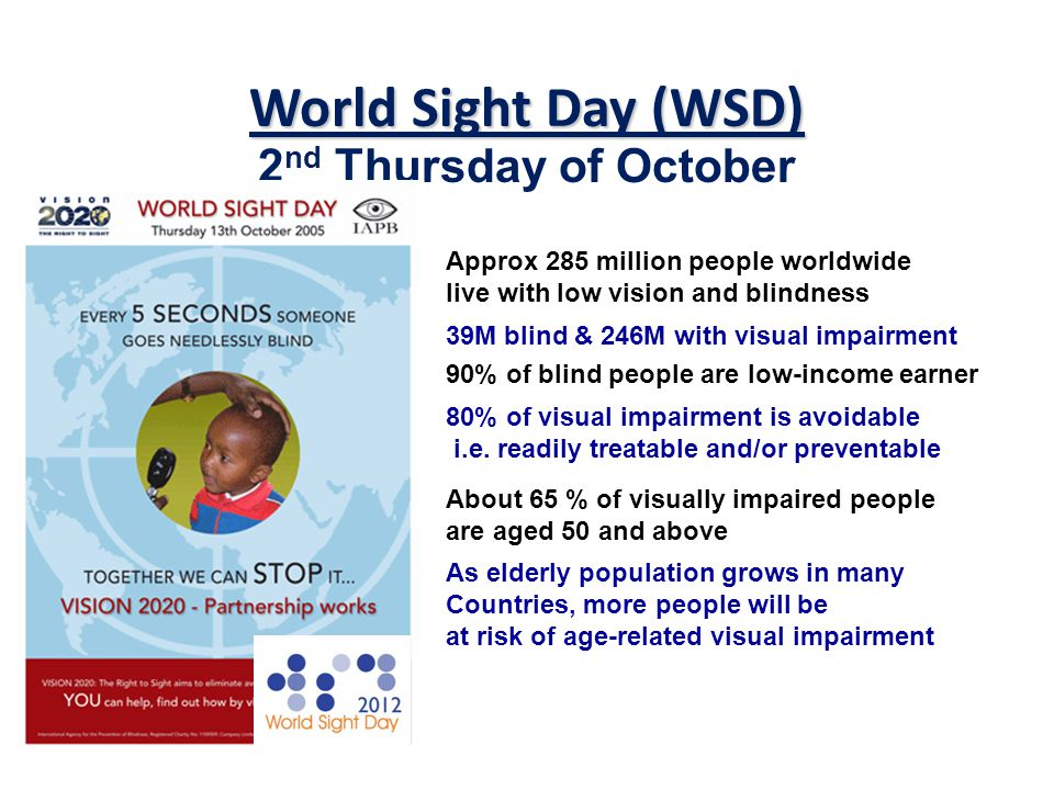 World Sight Day (WSD) 2 nd Thursday of October Approx 285 million people worldwide live with low vision and blindness 39M blind & 246M with visual impairment 90% of blind people are low-income earner 80% of visual impairment is avoidable i.e.