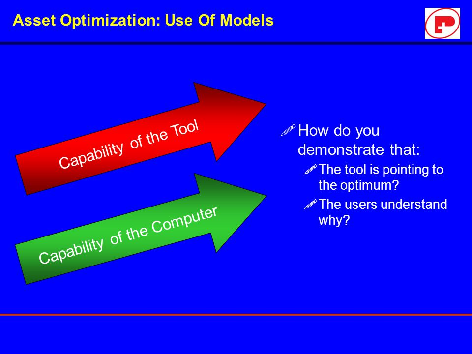 Asset Optimization: Use Of Models !How do you demonstrate that: !The tool is pointing to the optimum? !The users understand why? Capability of the Too