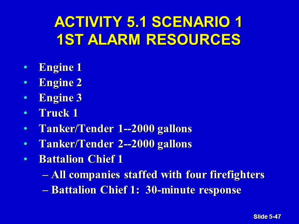 Slide 5-47 ACTIVITY 5.1 SCENARIO 1 1ST ALARM RESOURCES Engine 1Engine 1 Engine 2Engine 2 Engine 3Engine 3 Truck 1Truck 1 Tanker/Tender 1--2000 gallonsTanker/Tender 1--2000 gallons Tanker/Tender 2--2000 gallonsTanker/Tender 2--2000 gallons Battalion Chief 1Battalion Chief 1 – All companies staffed with four firefighters – Battalion Chief 1: 30-minute response