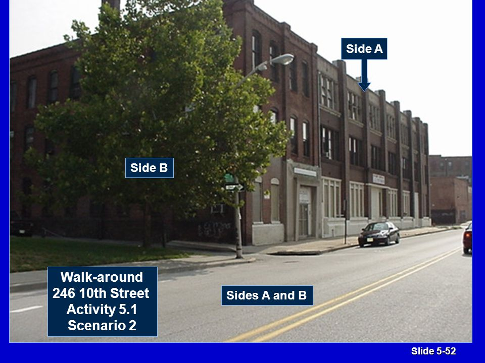 Slide 5-52 Sides A and B Side B Walk-around 246 10th Street Activity 5.1 Scenario 2 Side A