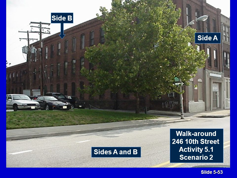 Slide 5-53 Sides A and B Side A Side B Walk-around 246 10th Street Activity 5.1 Scenario 2