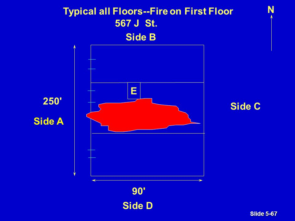 Slide 5-67 N E Typical all Floors--Fire on First Floor 250 90 Side B 567 J St.