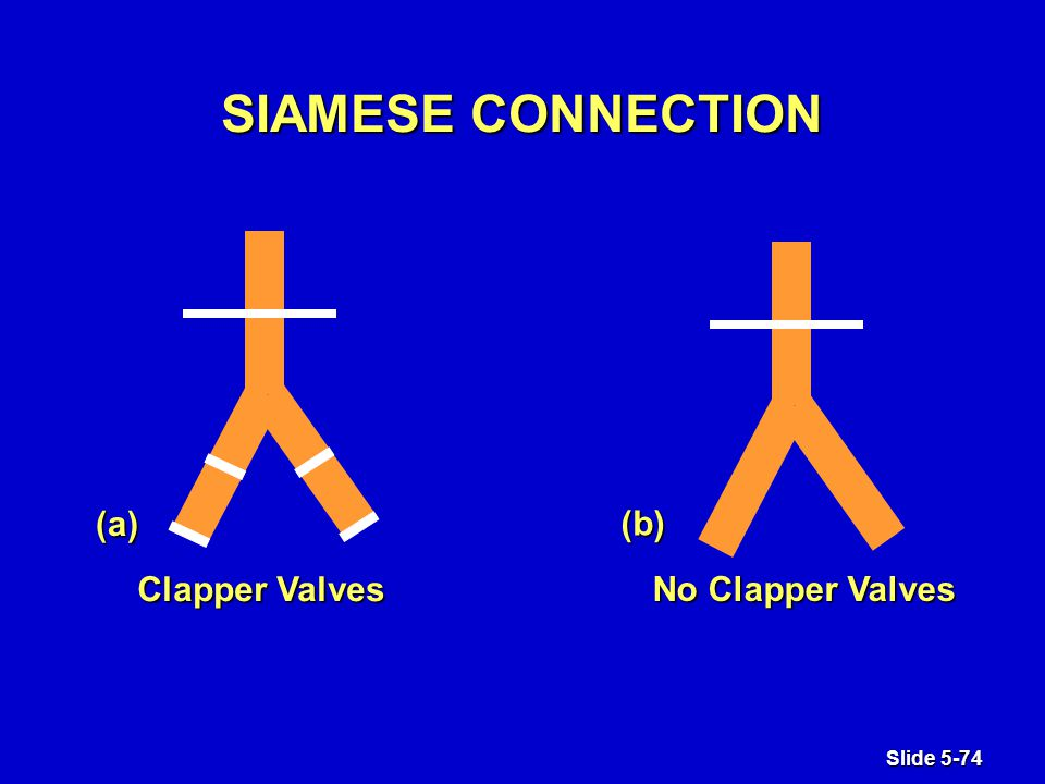 Slide 5-74 Clapper Valves No Clapper Valves (a) (b) (b) SIAMESE CONNECTION