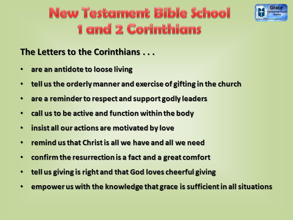 The Letters to the Corinthians...