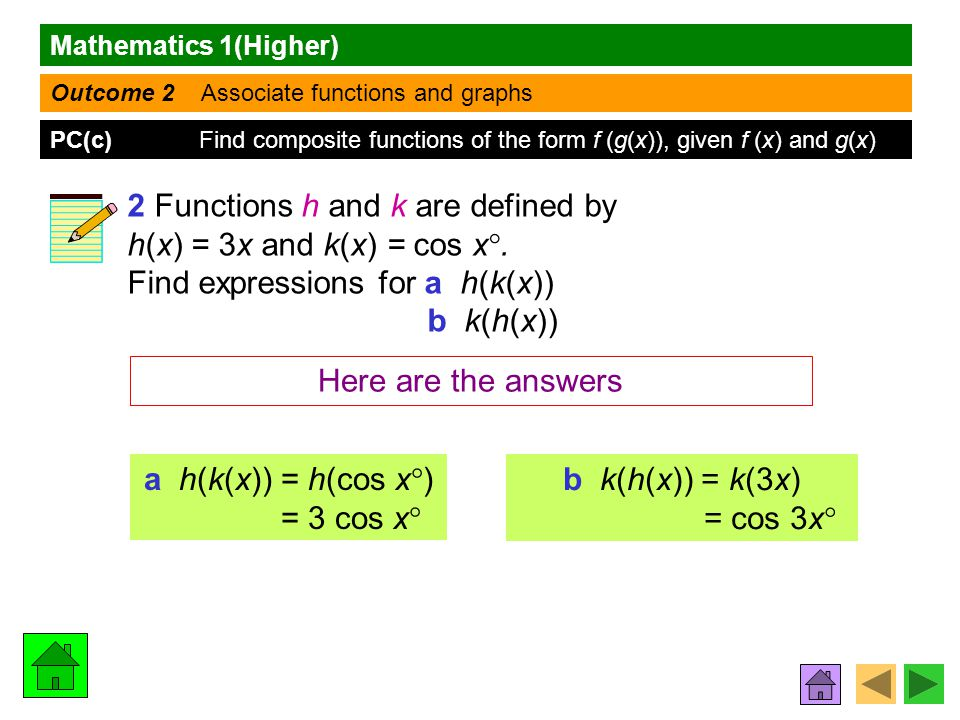 Mathematics 1(Higher) Outcome 2 Associate functions and graphs PC(c) Find composite functions of the form f (g(x)), given f (x) and g(x) 2 Functions h and k are defined by h(x) = 3x and k(x) = cos x .