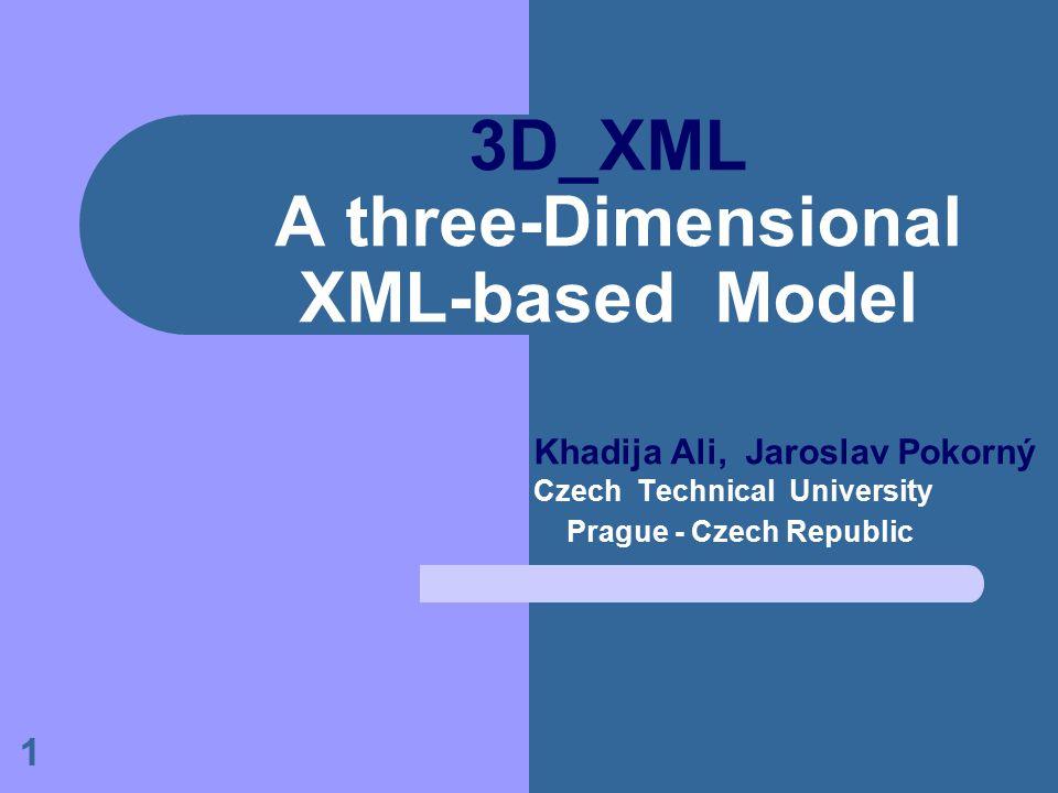 1 3D_XML A three-Dimensional XML-based Model Khadija Ali, Jaroslav Pokorný Czech Technical University Prague - Czech Republic