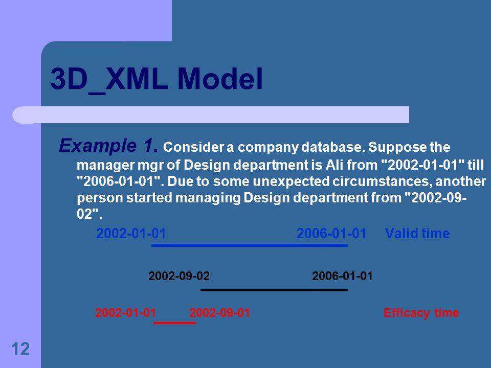 12 3D_XML Model Example 1. Consider a company database.