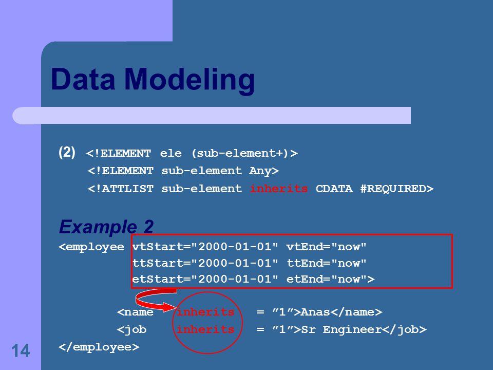 14 Data Modeling (2) Example 2 <employee vtStart=