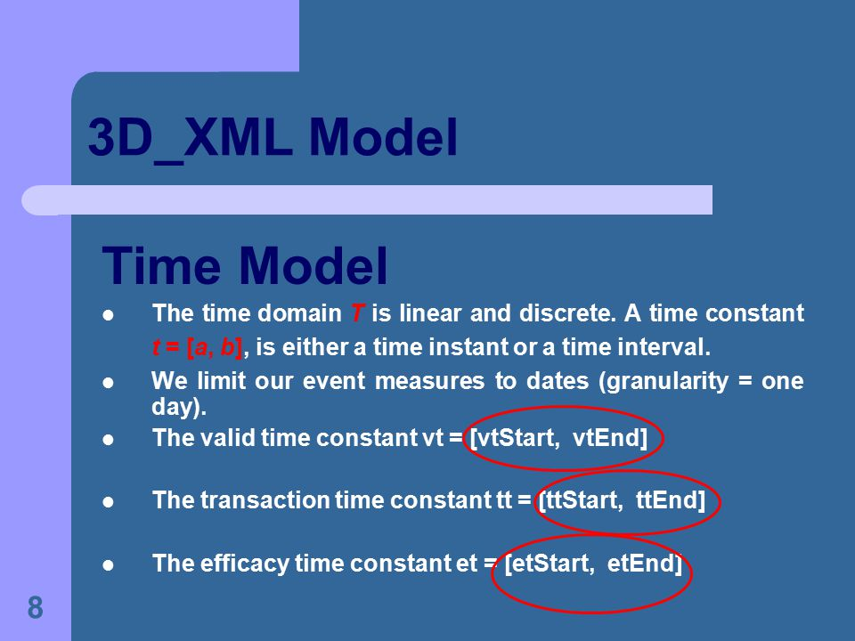 8 3D_XML Model Time Model The time domain T is linear and discrete.