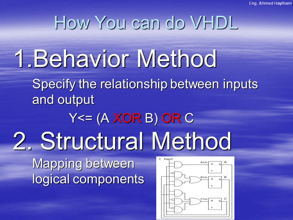 How You can do VHDL 1.Behavior Method Specify the relationship between inputs and output Y<= (A XOR B) OR C 2. Structural Method Mapping between logic