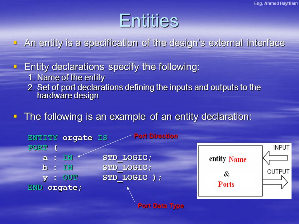 Entities  An entity is a specification of the design's external interface  Entity declarations specify the following: 1.Name of the entity 2.Set of port declarations defining the inputs and outputs to the hardware design  The following is an example of an entity declaration: ENTITY orgate IS PORT ( a : INSTD_LOGIC; b : INSTD_LOGIC; y : OUTSTD_LOGIC ); END orgate; Port Direction Port Data Type