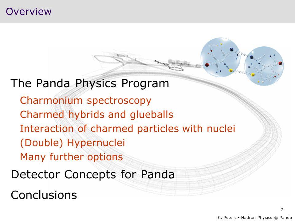 2 K. Peters - Hadron Physics @ Panda Overview The Panda Physics Program Charmonium spectroscopy Charmed hybrids and glueballs Interaction of charmed p