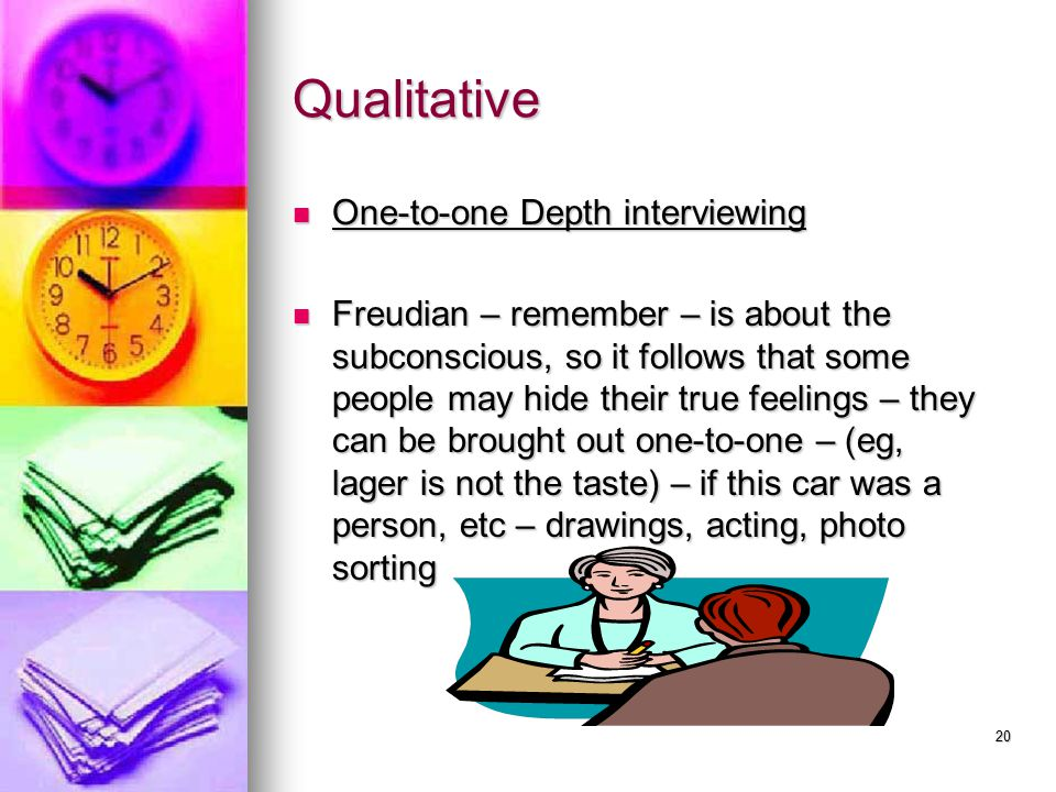 19 Qualitative research 1. Focus Group – 2. 1-2-1 depth 1.