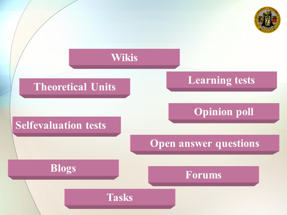 Theoretical Units Selfevaluation tests Open answer questions Forums Tasks Blogs Wikis Opinion poll Learning tests