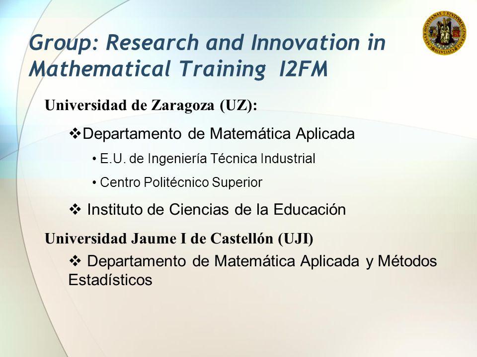 Universidad de Zaragoza (UZ):  Departamento de Matemática Aplicada E.U. de Ingeniería Técnica Industrial Centro Politécnico Superior  Instituto de C