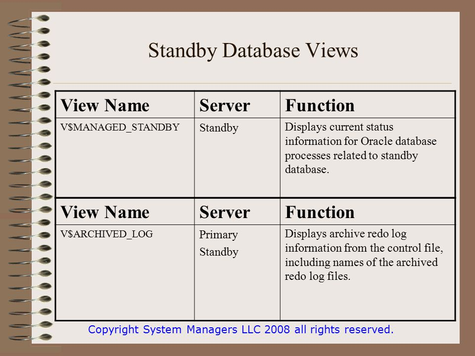 Standby Database Views Copyright System Managers LLC 2008 all rights reserved.