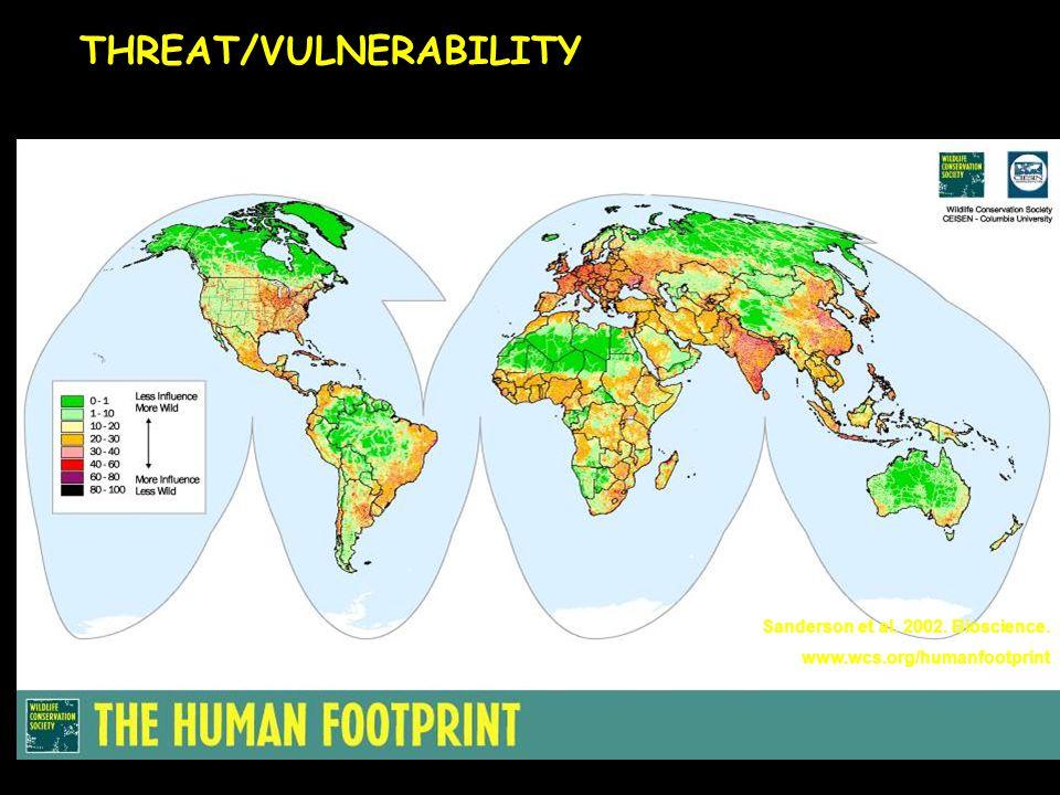 Sanderson et al. 2002. Bioscience. www.wcs.org/humanfootprint THREAT/VULNERABILITY
