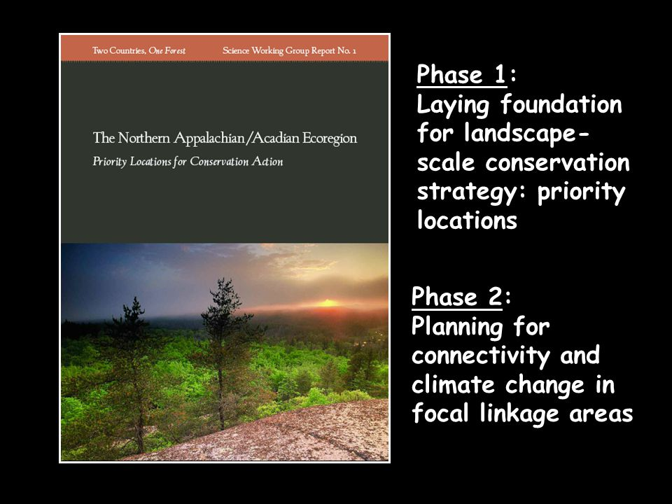 Phase 1: Laying foundation for landscape- scale conservation strategy: priority locations Phase 2: Planning for connectivity and climate change in focal linkage areas