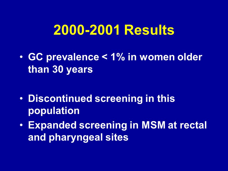 2000-2001 Results GC prevalence < 1% in women older than 30 years Discontinued screening in this population Expanded screening in MSM at rectal and pharyngeal sites