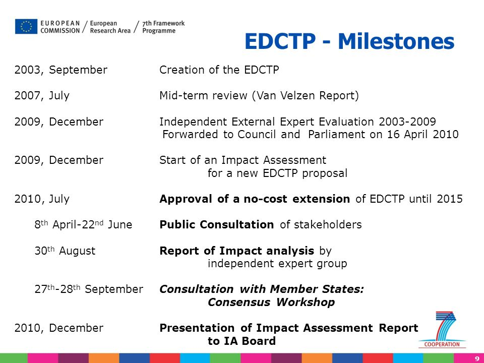 9 2003, September Creation of the EDCTP 2007, July Mid-term review (Van Velzen Report) 2009, December Independent External Expert Evaluation 2003-2009