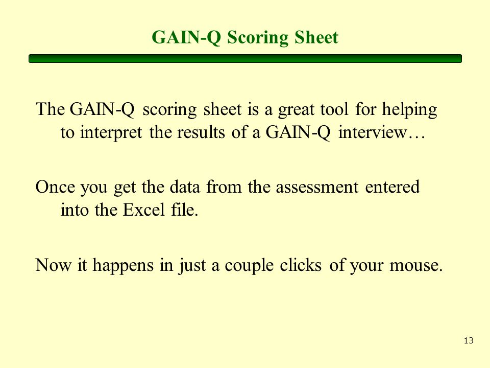 13 GAIN-Q Scoring Sheet The GAIN-Q scoring sheet is a great tool for helping to interpret the results of a GAIN-Q interview… Once you get the data fro