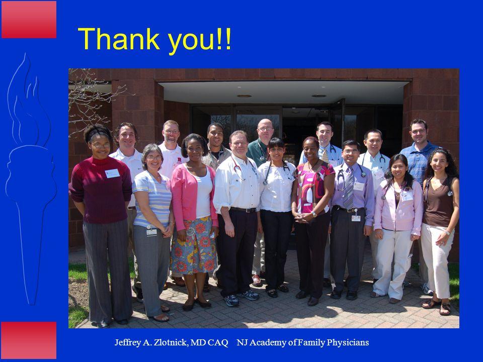 Jeffrey A. Zlotnick, MD CAQ NJ Academy of Family Physicians Thank you!!