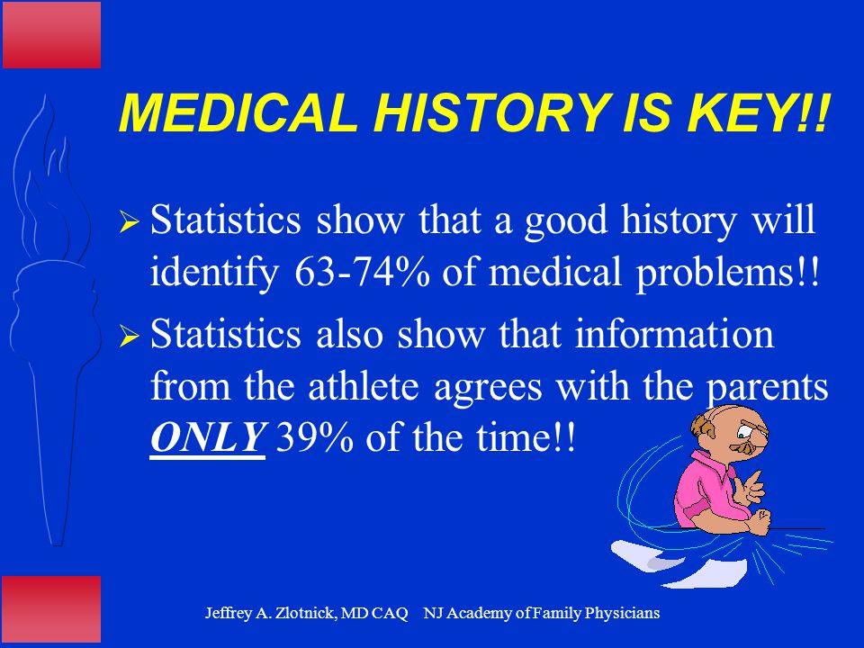 Jeffrey A. Zlotnick, MD CAQ NJ Academy of Family Physicians MEDICAL HISTORY IS KEY!!  Statistics show that a good history will identify 63-74% of med