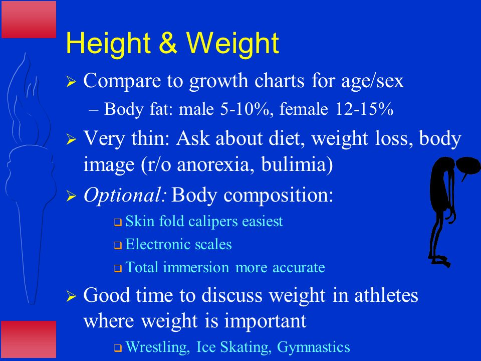 Height & Weight  Compare to growth charts for age/sex –Body fat: male 5-10%, female 12-15%  Very thin: Ask about diet, weight loss, body image (r/o anorexia, bulimia)  Optional: Body composition:  Skin fold calipers easiest  Electronic scales  Total immersion more accurate  Good time to discuss weight in athletes where weight is important  Wrestling, Ice Skating, Gymnastics