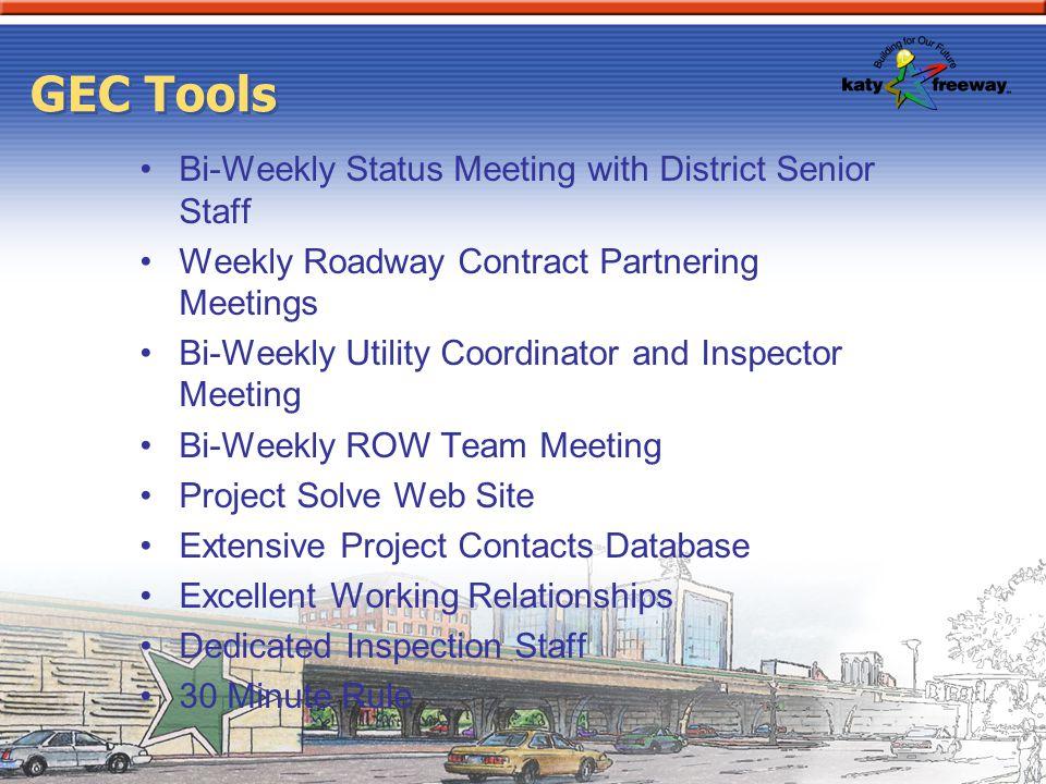 GEC Tools Bi-Weekly Status Meeting with District Senior Staff Weekly Roadway Contract Partnering Meetings Bi-Weekly Utility Coordinator and Inspector