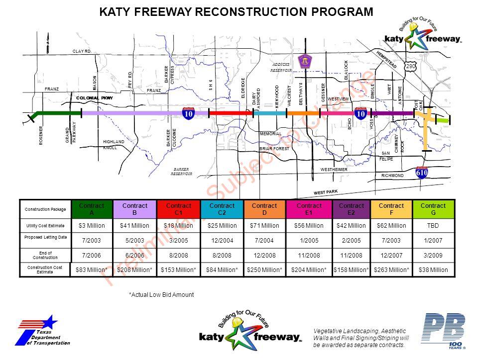 Preliminary Subject to Change KATY FREEWAY RECONSTRUCTION PROGRAM Texas Department of Transportation RICHMOND FRANZ S H 6 DAIRY ASHFORD KIRKWOOD WILCR