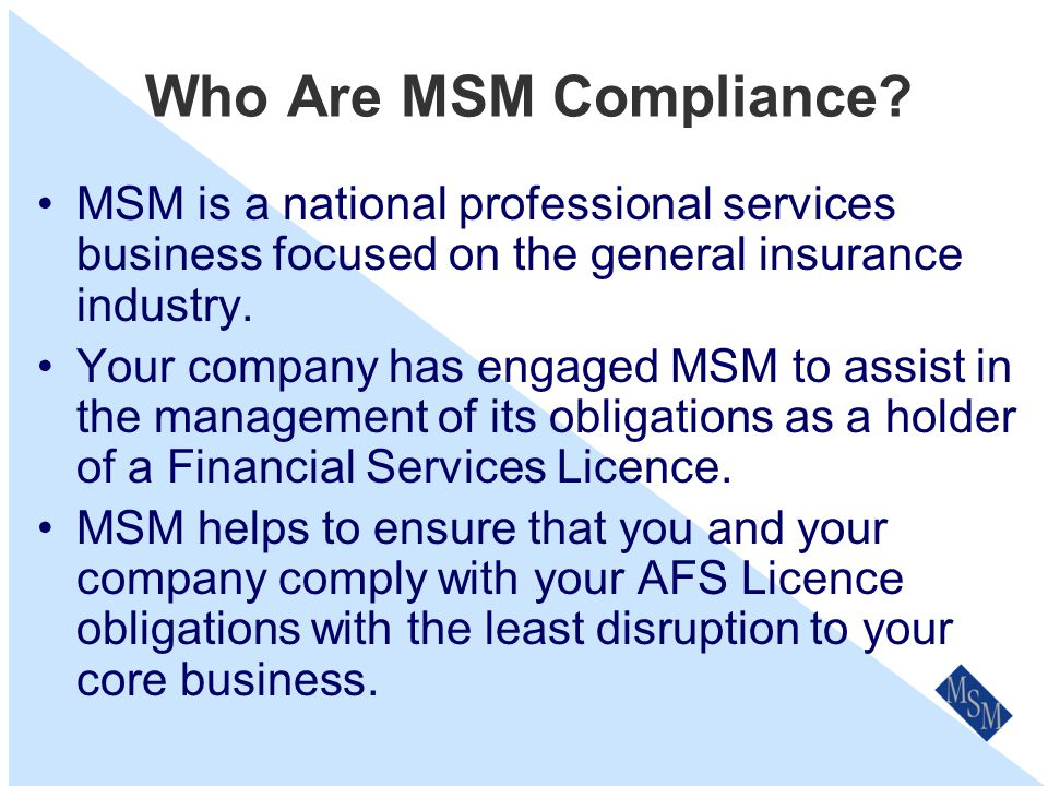 Complaints An Overview for Staff Prepared by MSM Compliance Services Pty Ltd