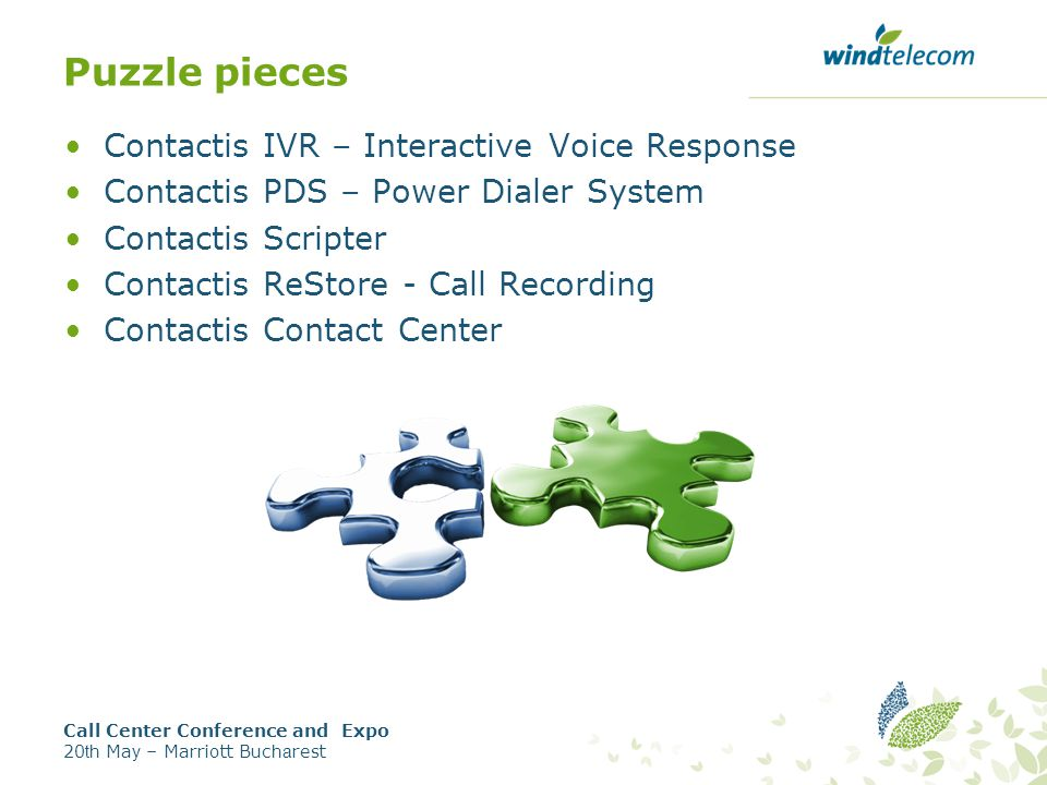 Puzzle pieces Contactis IVR – Interactive Voice Response Contactis PDS – Power Dialer System Contactis Scripter Contactis ReStore - Call Recording Contactis Contact Center Call Center Conference and Expo 20 th Ma y – Marriott Buc ha rest