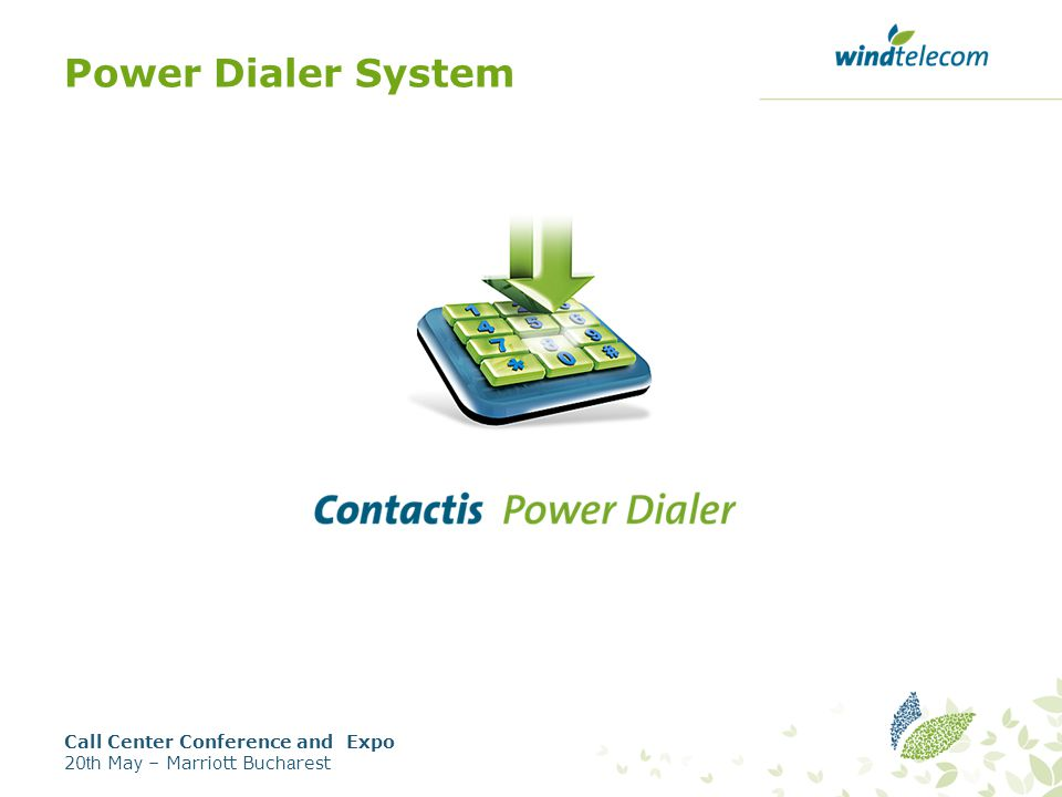 Power Dialer System Call Center Conference and Expo 20 th Ma y – Marriott Buc ha rest