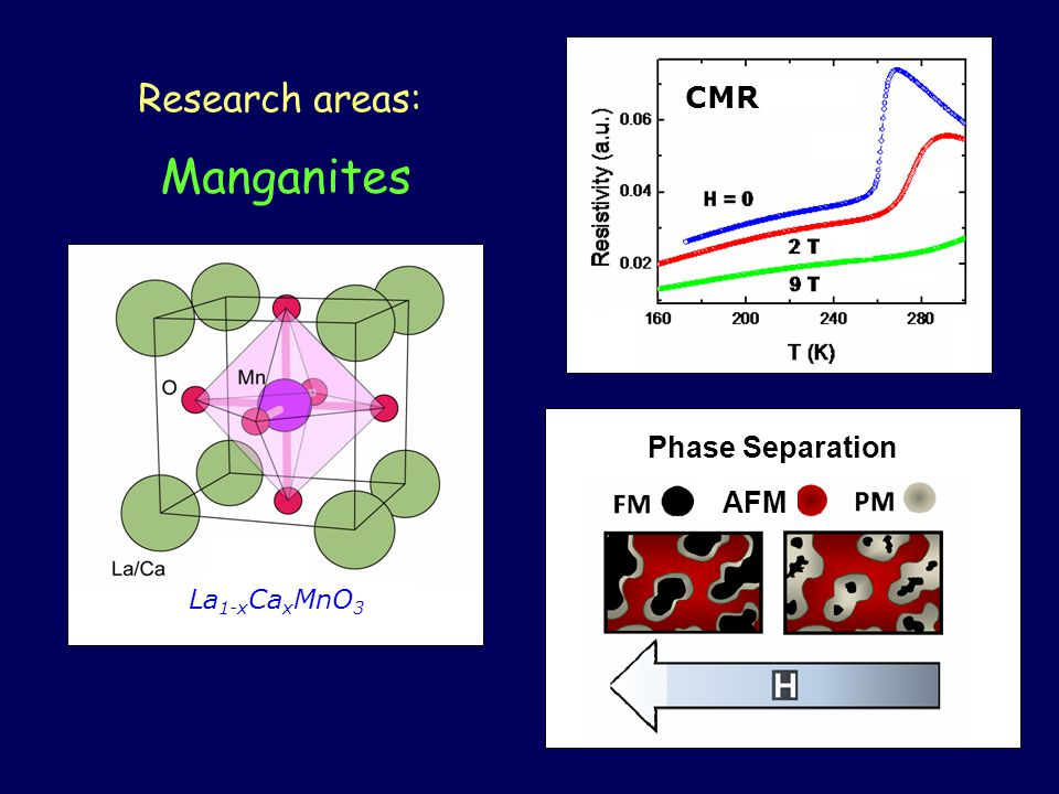 Manganites Research areas: La 1-x Ca x MnO 3 CMR AFM Phase Separation