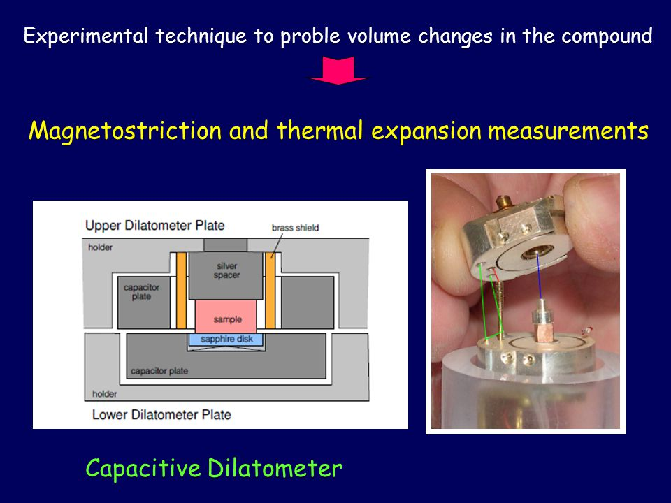 Capacitive Dilatometer Magnetostriction and thermal expansion measurements Experimental technique to proble volume changes in the compound