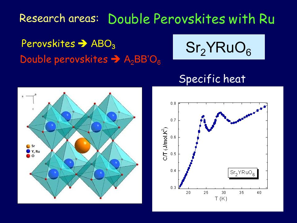 Double Perovskites with Ru Research areas: Perovskites  ABO 3 Double perovskites  A 2 BB'O 6 Sr 2 YRuO 6 Specific heat
