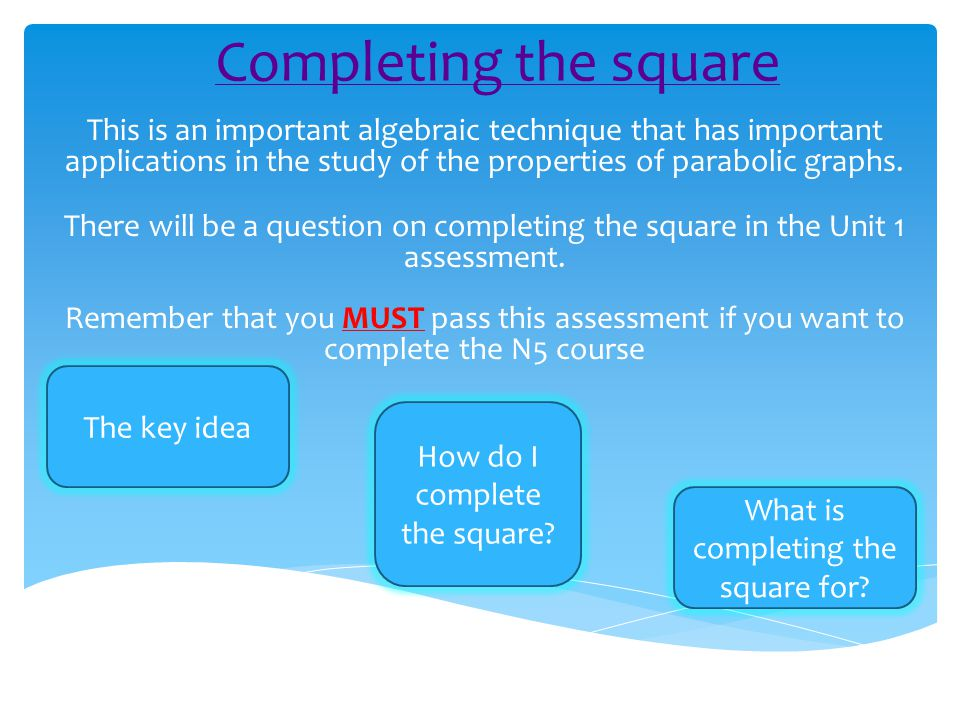 Completing the square This is an important algebraic technique that has important applications in the study of the properties of parabolic graphs.