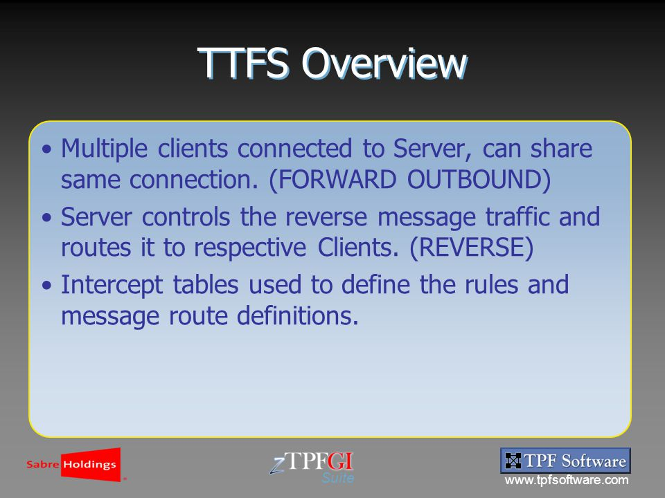 www.tpfsoftware.com Suite TTFS Overview Multiple clients connected to Server, can share same connection.