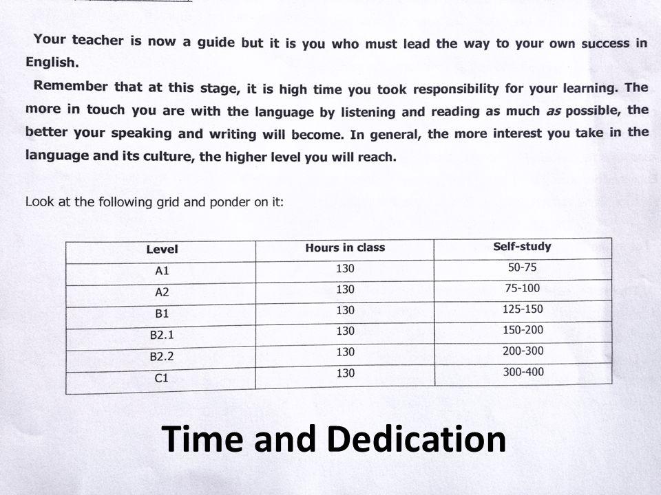 Time and Dedication