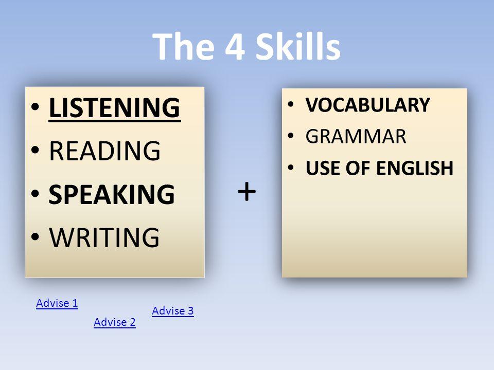 The 4 Skills LISTENING READING SPEAKING WRITING LISTENING READING SPEAKING WRITING VOCABULARY GRAMMAR USE OF ENGLISH VOCABULARY GRAMMAR USE OF ENGLISH + Advise 1 Advise 2 Advise 3