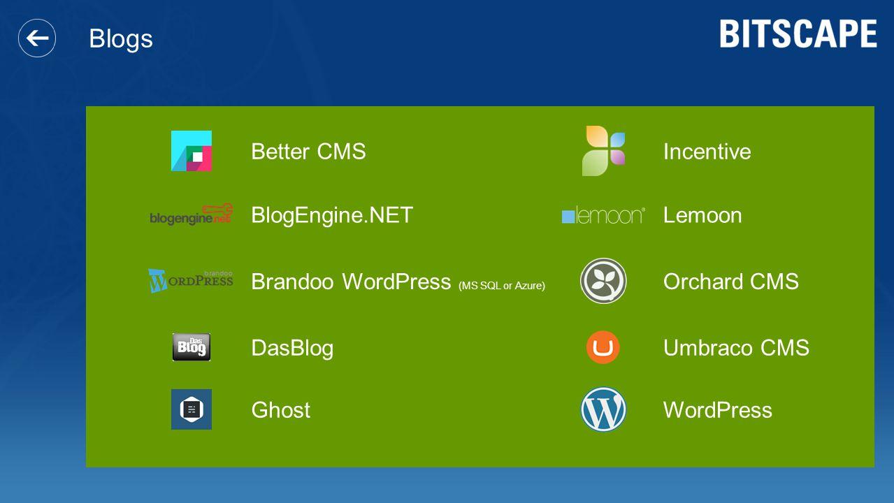 Blogs Better CMS BlogEngine.NET Brandoo WordPress (MS SQL or Azure) DasBlog Ghost Incentive Lemoon Orchard CMS Umbraco CMS WordPress
