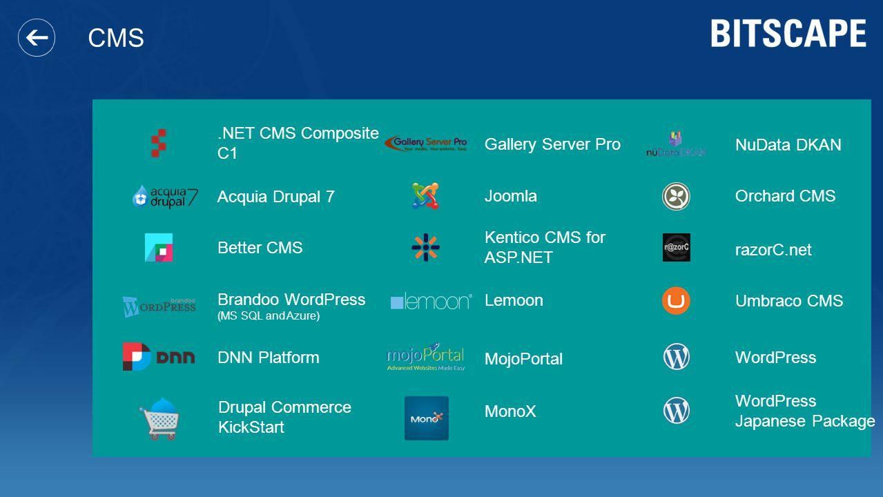 CMS.NET CMS Composite C1 Acquia Drupal 7 Better CMS Brandoo WordPress (MS SQL and Azure) DNN Platform Drupal Commerce KickStart Gallery Server Pro Joo