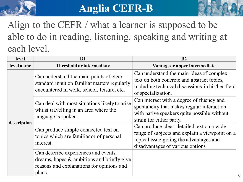 Ascentis Anglia ESOL International Examinations General Information Language tested: English.