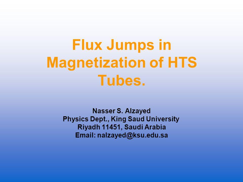 Flux Jumps in Magnetization of HTS Tubes. Nasser S.