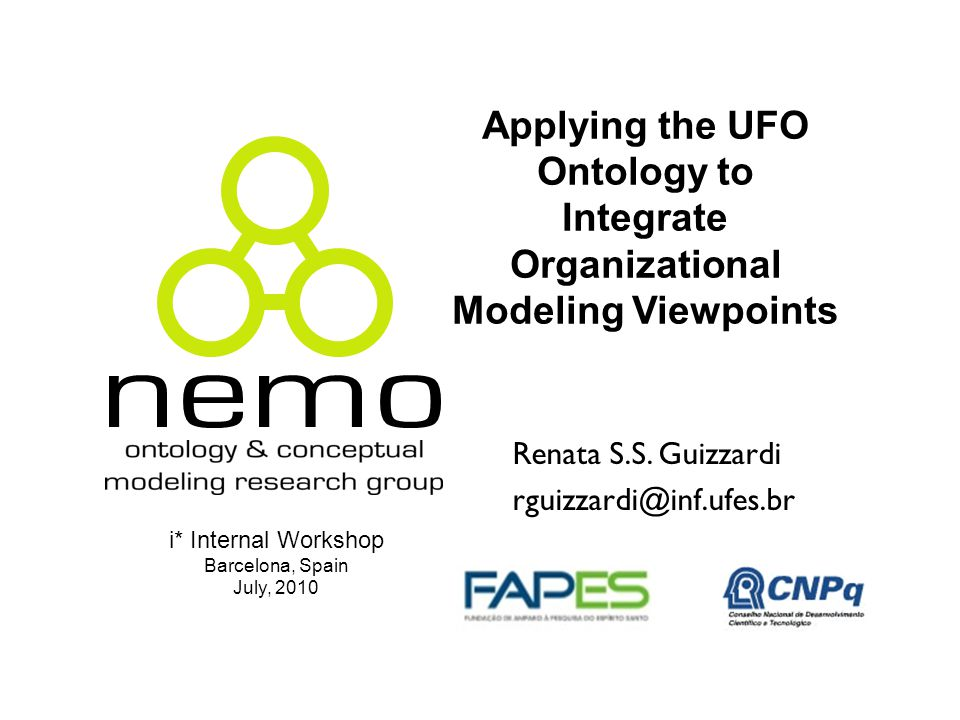 Applying the UFO Ontology to Integrate Organizational Modeling Viewpoints Renata S.S.